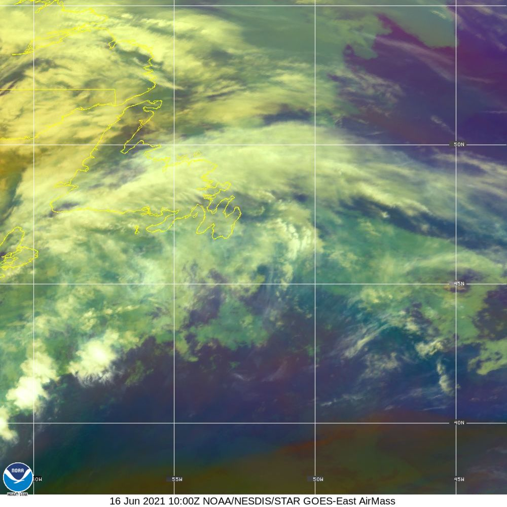 Air Mass - RGB composite based on the data from IR and WV - 16 Jun 2021 - 1000 UTC