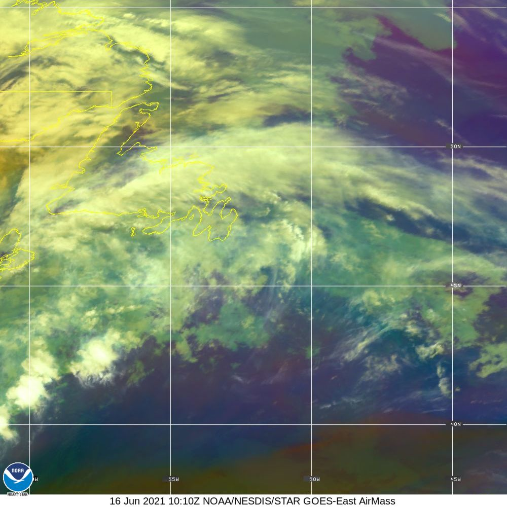 Air Mass - RGB composite based on the data from IR and WV - 16 Jun 2021 - 1010 UTC