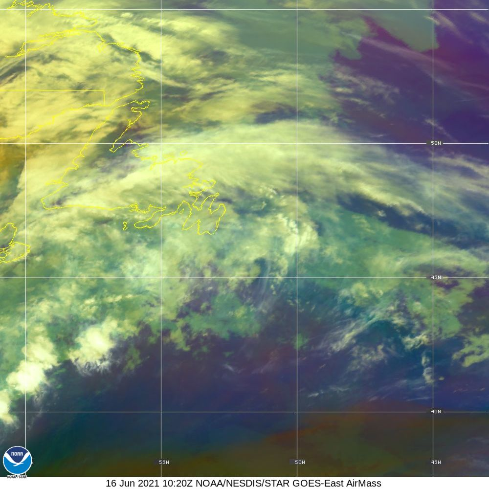 Air Mass - RGB composite based on the data from IR and WV - 16 Jun 2021 - 1020 UTC