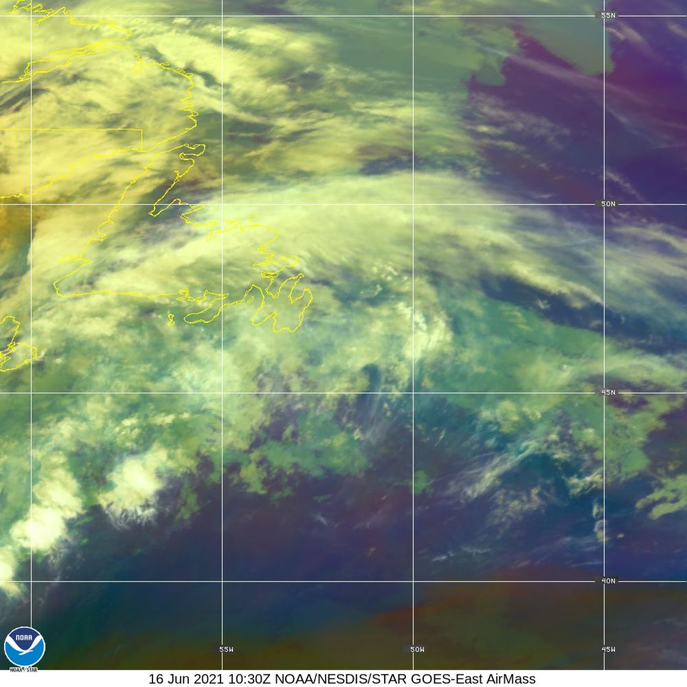 Air Mass - RGB composite based on the data from IR and WV - 16 Jun 2021 - 1030 UTC