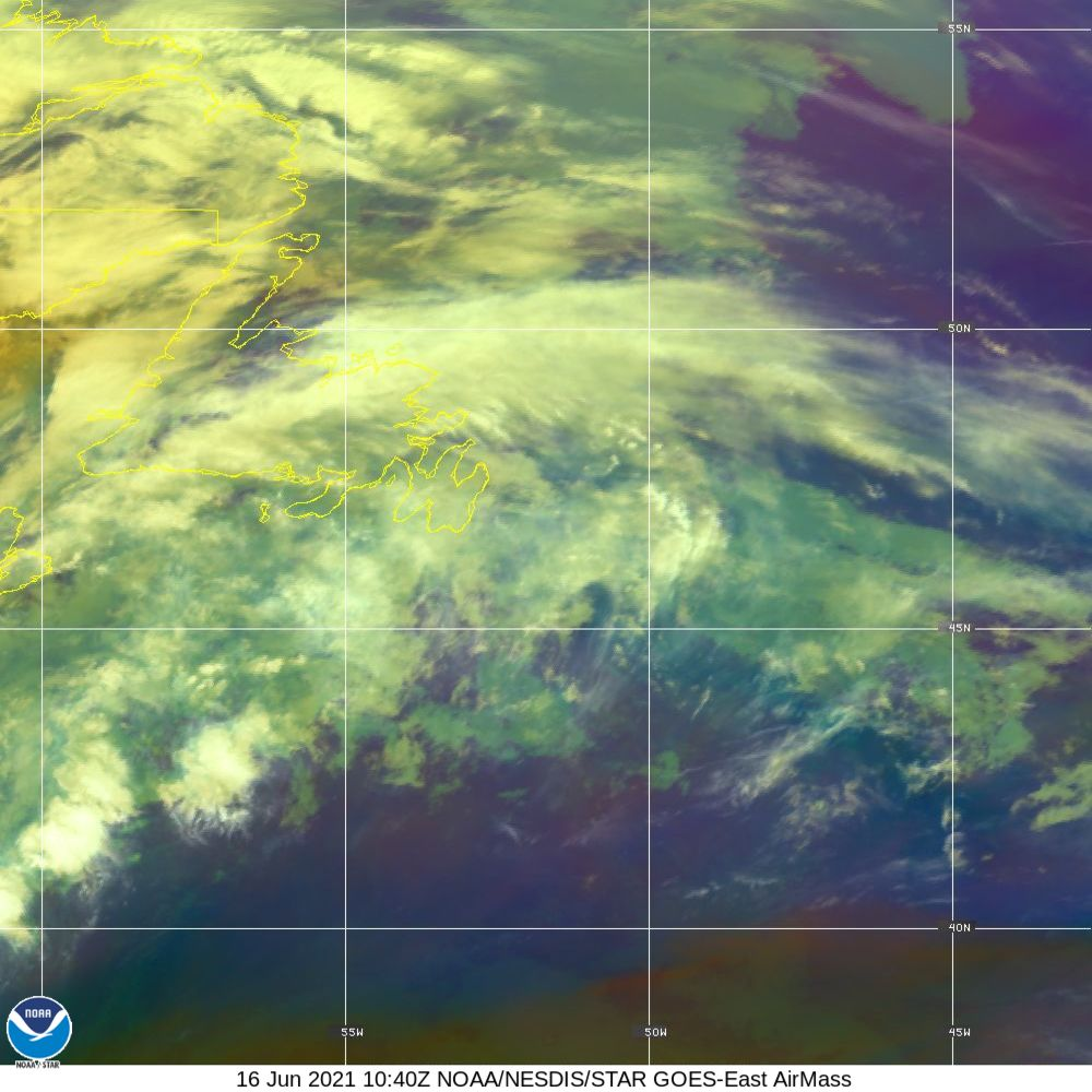 Air Mass - RGB composite based on the data from IR and WV - 16 Jun 2021 - 1040 UTC