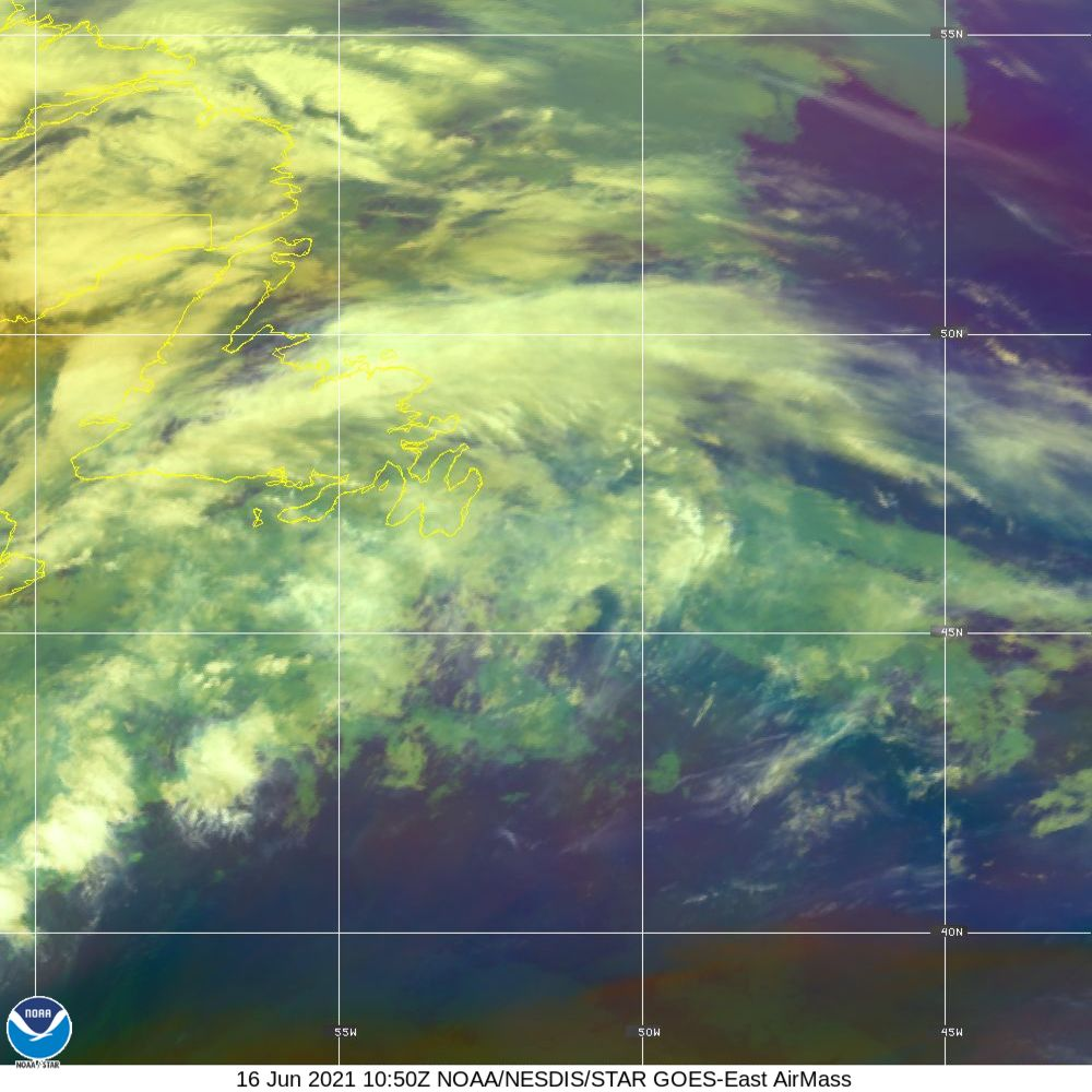 Air Mass - RGB composite based on the data from IR and WV - 16 Jun 2021 - 1050 UTC