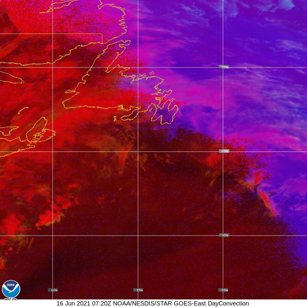 Day Convection - RGB used to identify areas of rapid intensification - 16 Jun 2021 - 0720 UTC