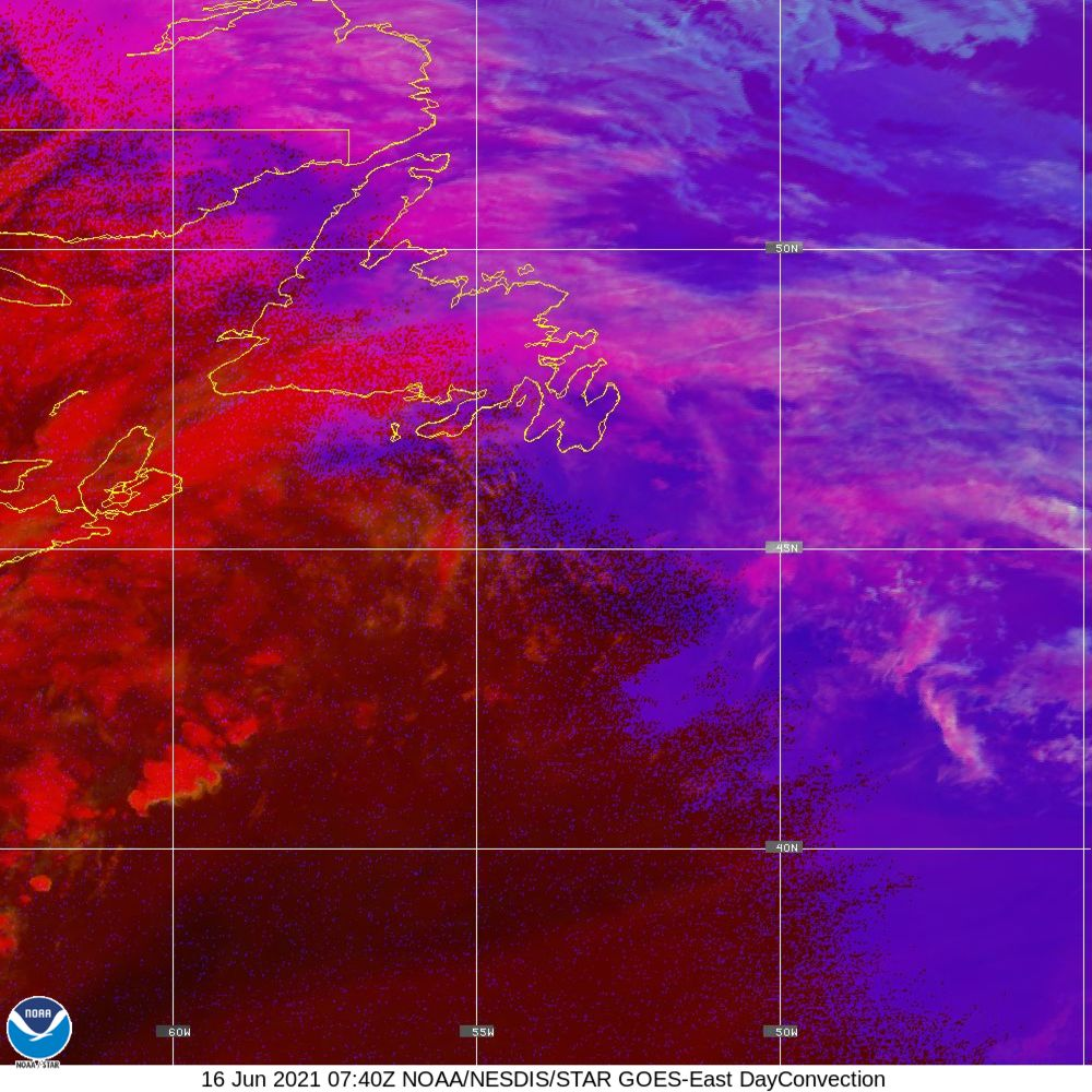 Day Convection - RGB used to identify areas of rapid intensification - 16 Jun 2021 - 0740 UTC