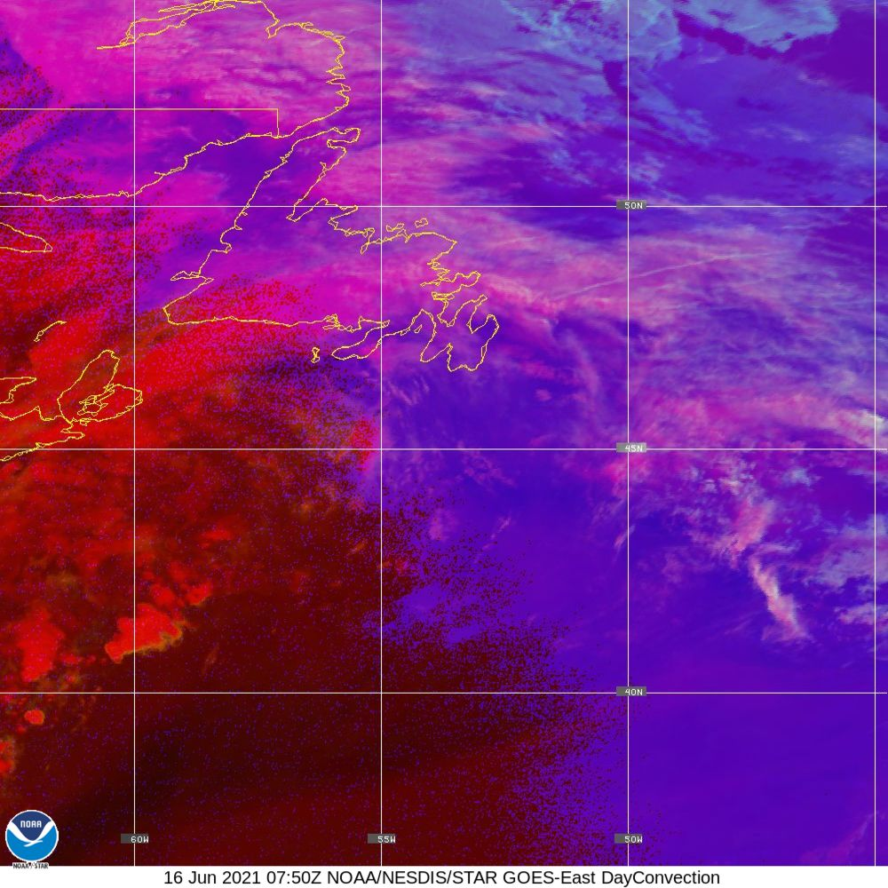 Day Convection - RGB used to identify areas of rapid intensification - 16 Jun 2021 - 0750 UTC