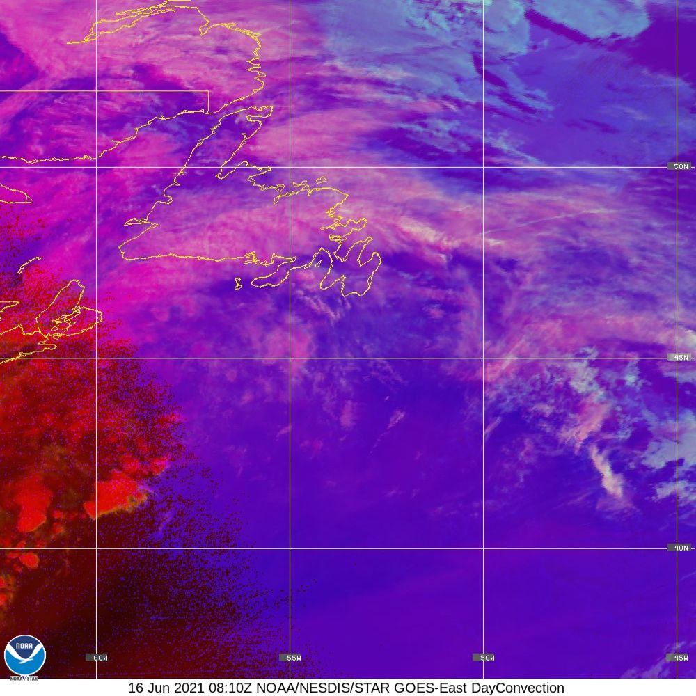 Day Convection - RGB used to identify areas of rapid intensification - 16 Jun 2021 - 0810 UTC