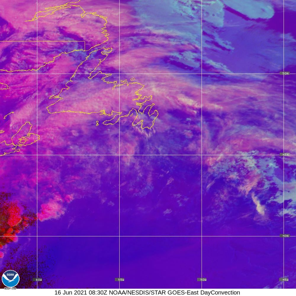 Day Convection - RGB used to identify areas of rapid intensification - 16 Jun 2021 - 0830 UTC
