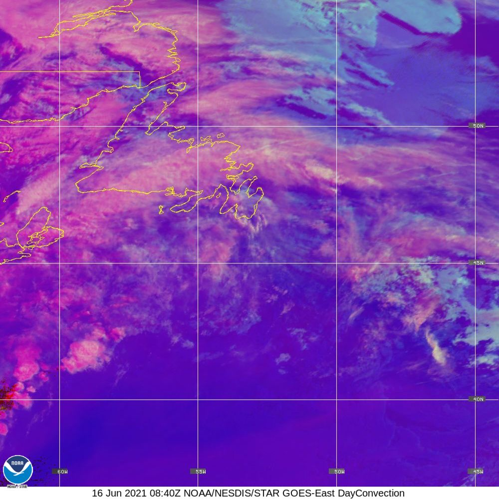 Day Convection - RGB used to identify areas of rapid intensification - 16 Jun 2021 - 0840 UTC