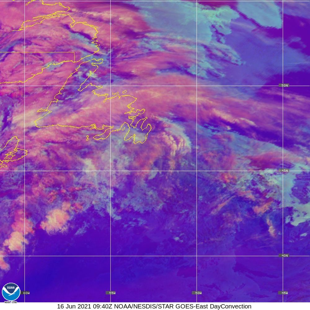 Day Convection - RGB used to identify areas of rapid intensification - 16 Jun 2021 - 0940 UTC