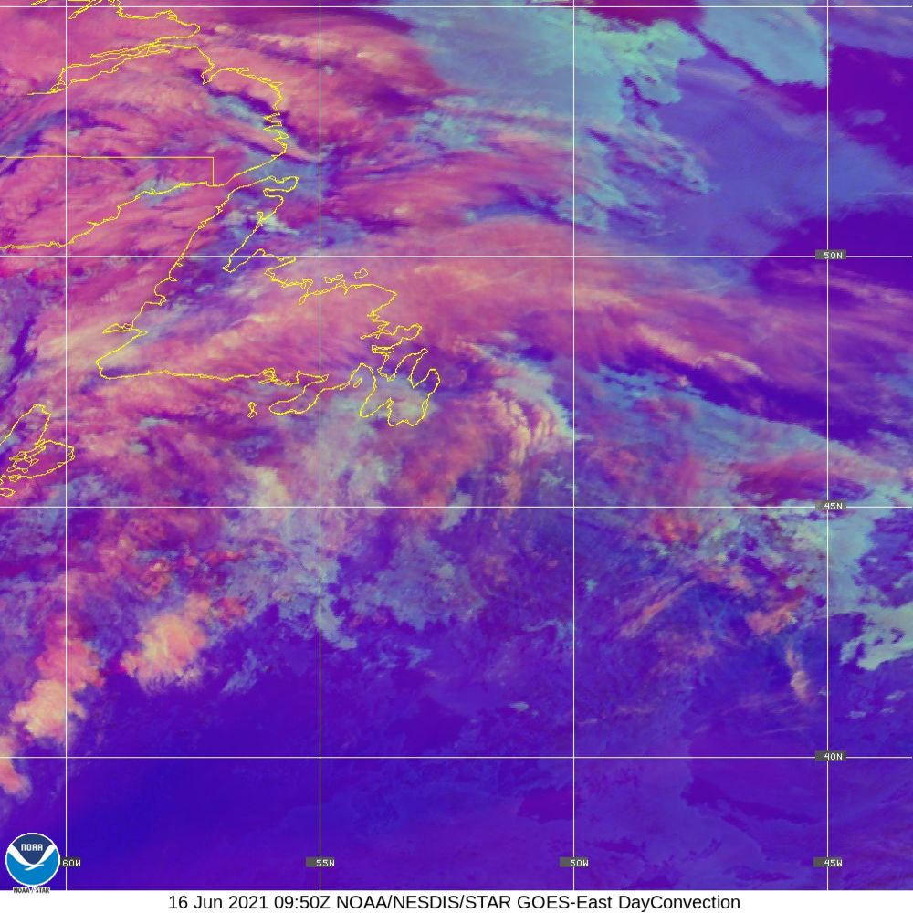Day Convection - RGB used to identify areas of rapid intensification - 16 Jun 2021 - 0950 UTC