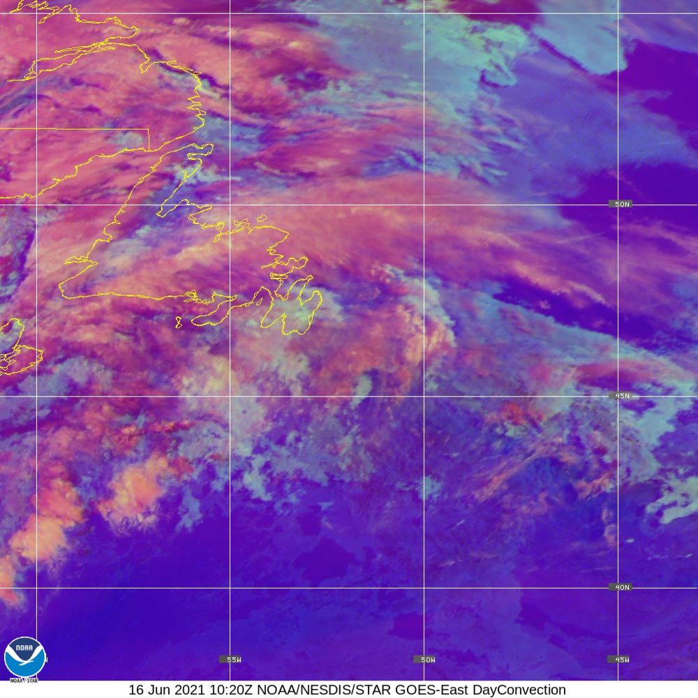 Day Convection - RGB used to identify areas of rapid intensification - 16 Jun 2021 - 1020 UTC