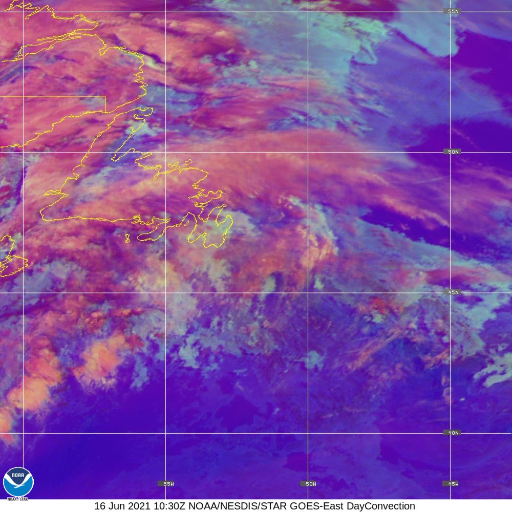 Day Convection - RGB used to identify areas of rapid intensification - 16 Jun 2021 - 1030 UTC