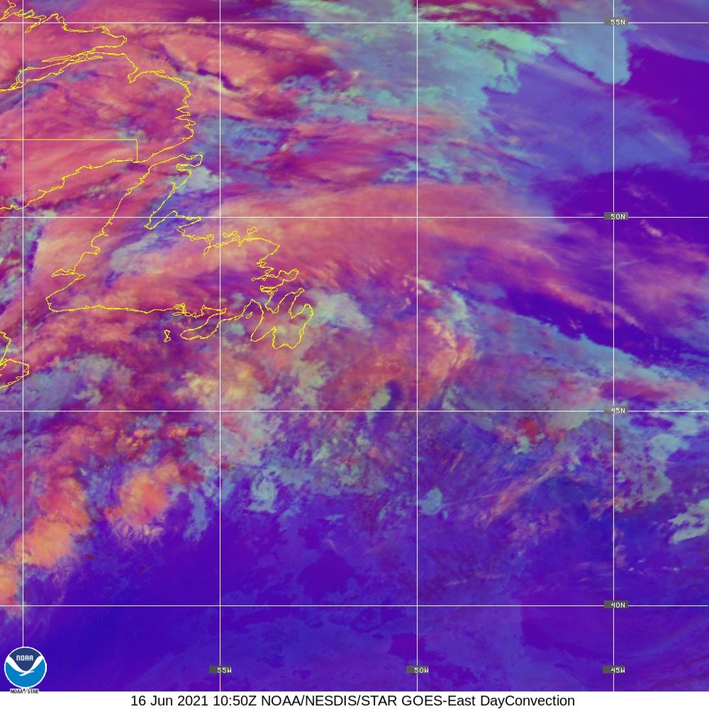 Day Convection - RGB used to identify areas of rapid intensification - 16 Jun 2021 - 1050 UTC