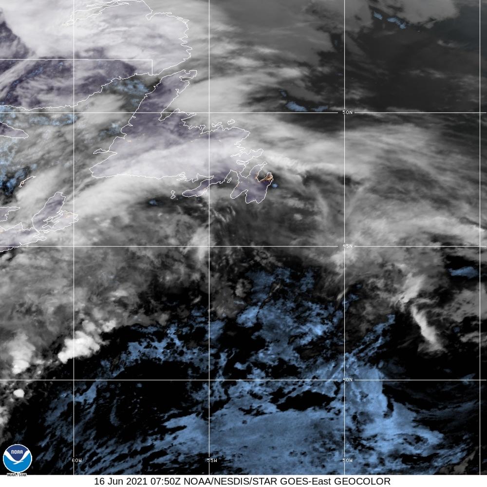 GeoColor - True Color daytime, multispectral IR at night - 16 Jun 2021 - 0750 UTC