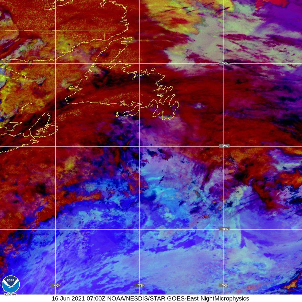 Nighttime Microphysics - RGB used to distinguish clouds from fog - 16 Jun 2021 - 0700 UTC