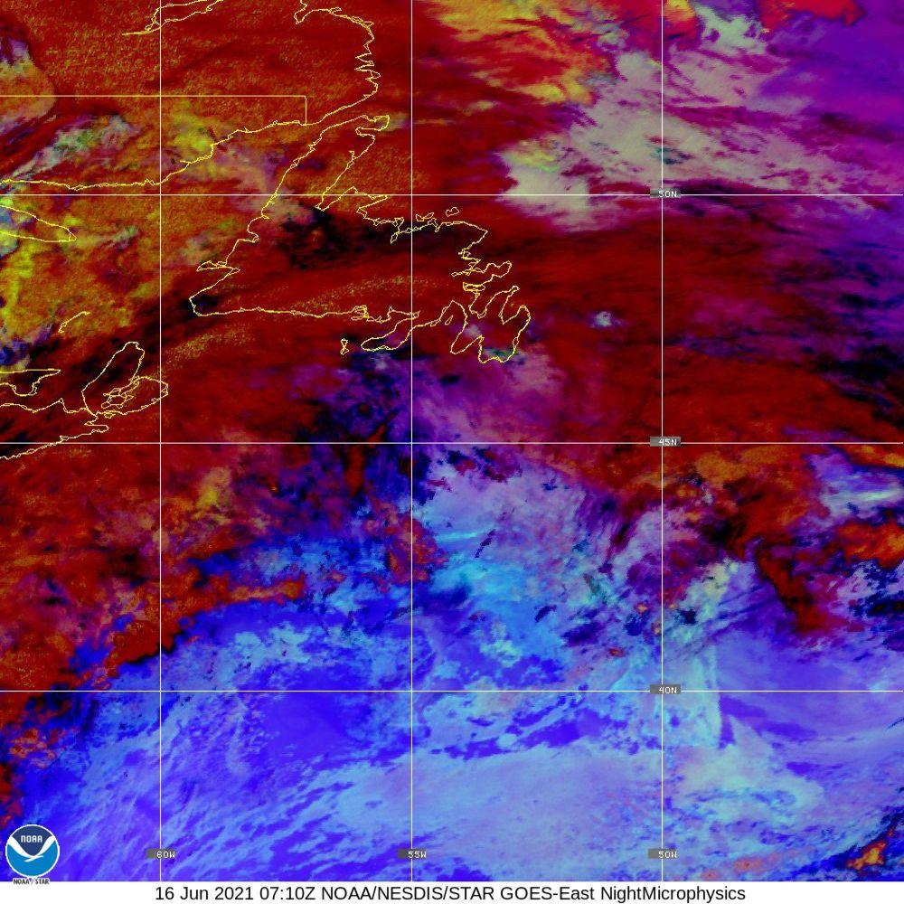 Nighttime Microphysics - RGB used to distinguish clouds from fog - 16 Jun 2021 - 0710 UTC