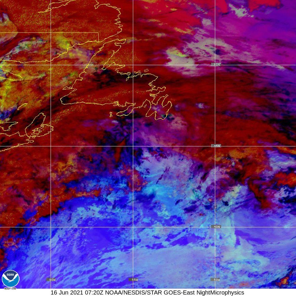 Nighttime Microphysics - RGB used to distinguish clouds from fog - 16 Jun 2021 - 0720 UTC