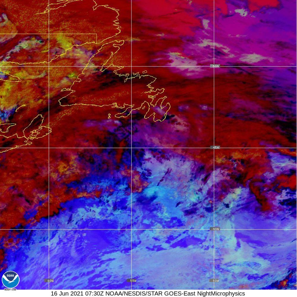 Nighttime Microphysics - RGB used to distinguish clouds from fog - 16 Jun 2021 - 0730 UTC