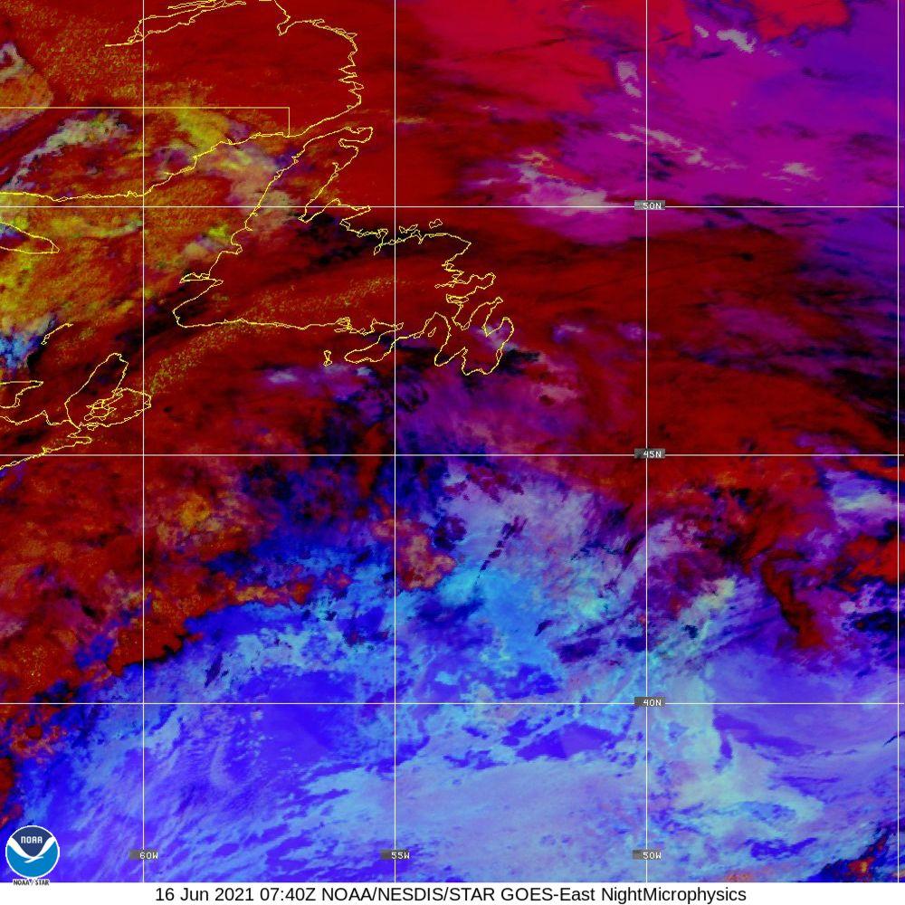 Nighttime Microphysics - RGB used to distinguish clouds from fog - 16 Jun 2021 - 0740 UTC
