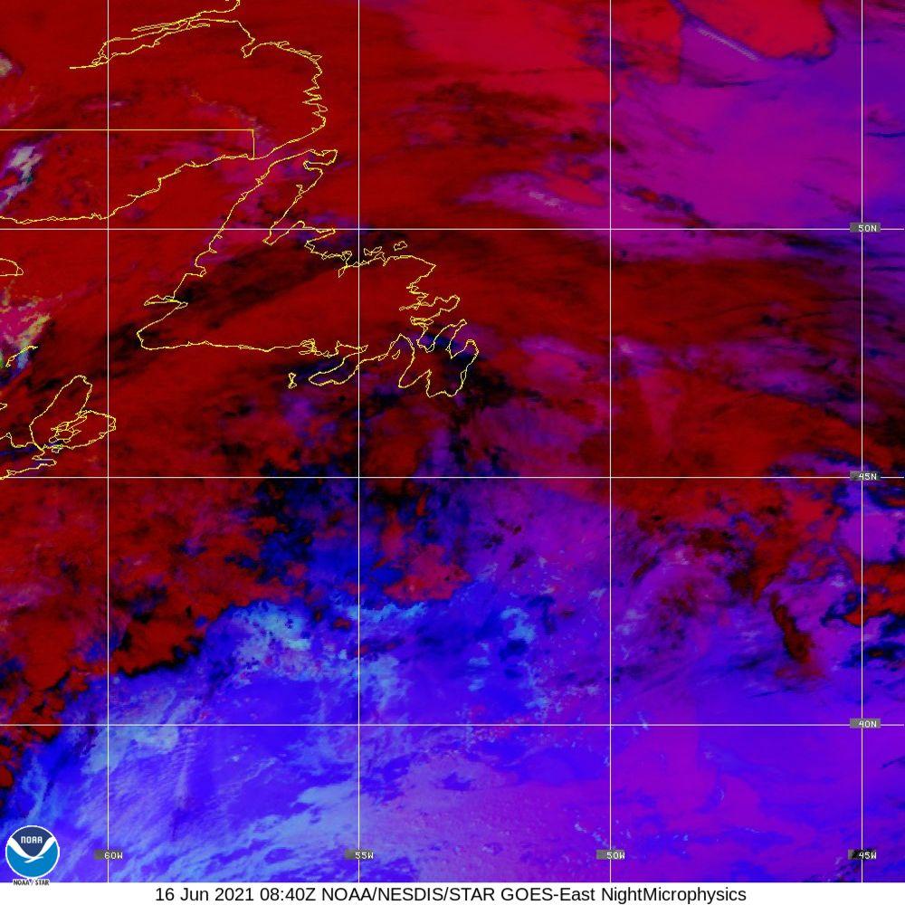 Nighttime Microphysics - RGB used to distinguish clouds from fog - 16 Jun 2021 - 0840 UTC