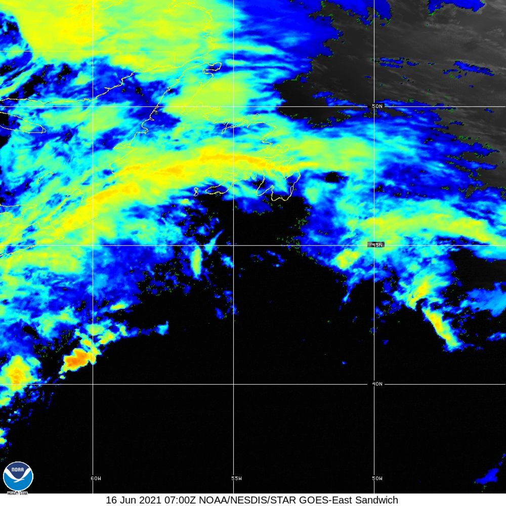 Sandwich - Multi-spectral blend combines IR band 13 with visual band 3 - 16 Jun 2021 - 0700 UTC