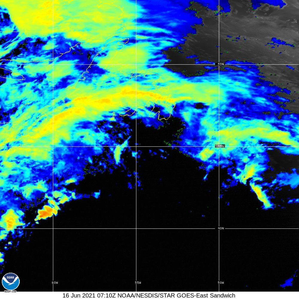 Sandwich - Multi-spectral blend combines IR band 13 with visual band 3 - 16 Jun 2021 - 0710 UTC