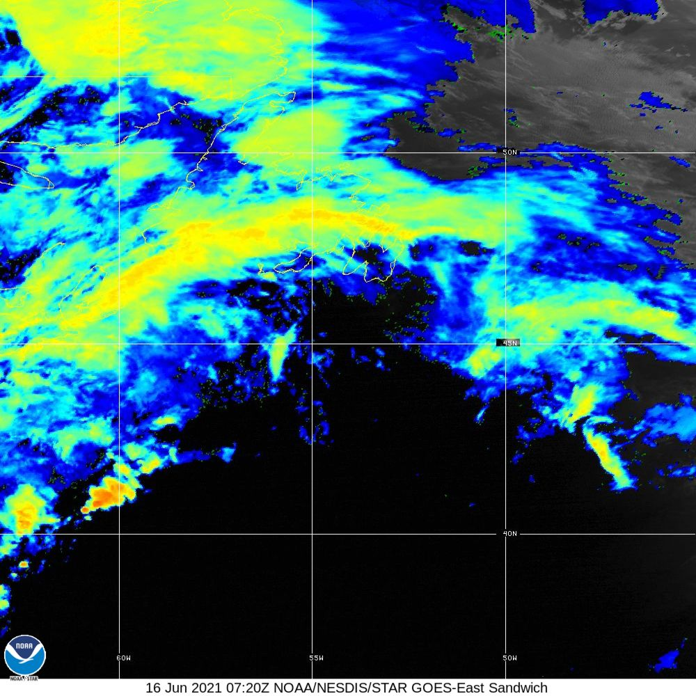 Sandwich - Multi-spectral blend combines IR band 13 with visual band 3 - 16 Jun 2021 - 0720 UTC