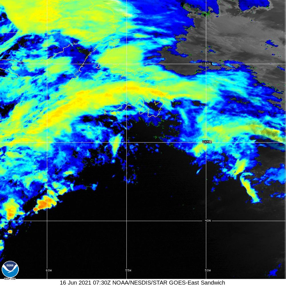 Sandwich - Multi-spectral blend combines IR band 13 with visual band 3 - 16 Jun 2021 - 0730 UTC
