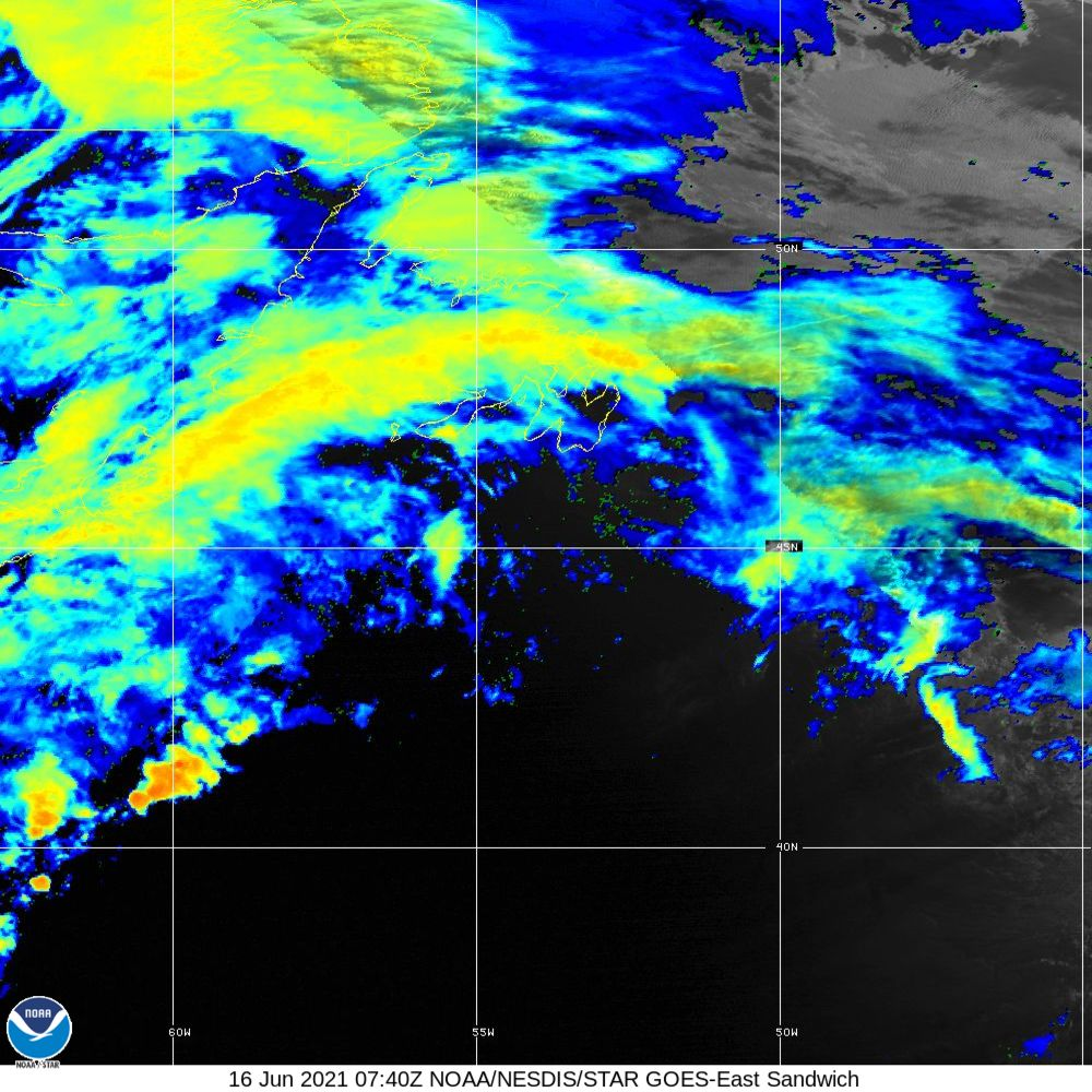 Sandwich - Multi-spectral blend combines IR band 13 with visual band 3 - 16 Jun 2021 - 0740 UTC