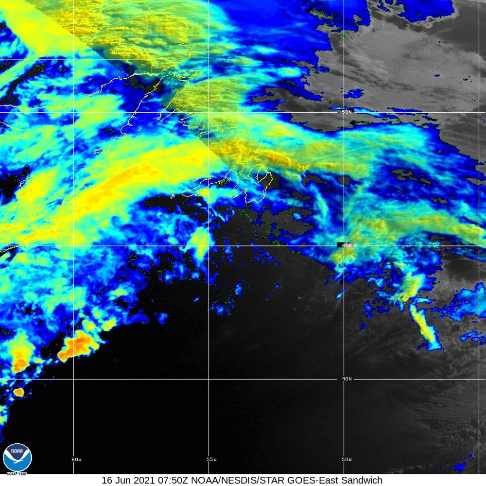 Sandwich - Multi-spectral blend combines IR band 13 with visual band 3 - 16 Jun 2021 - 0750 UTC