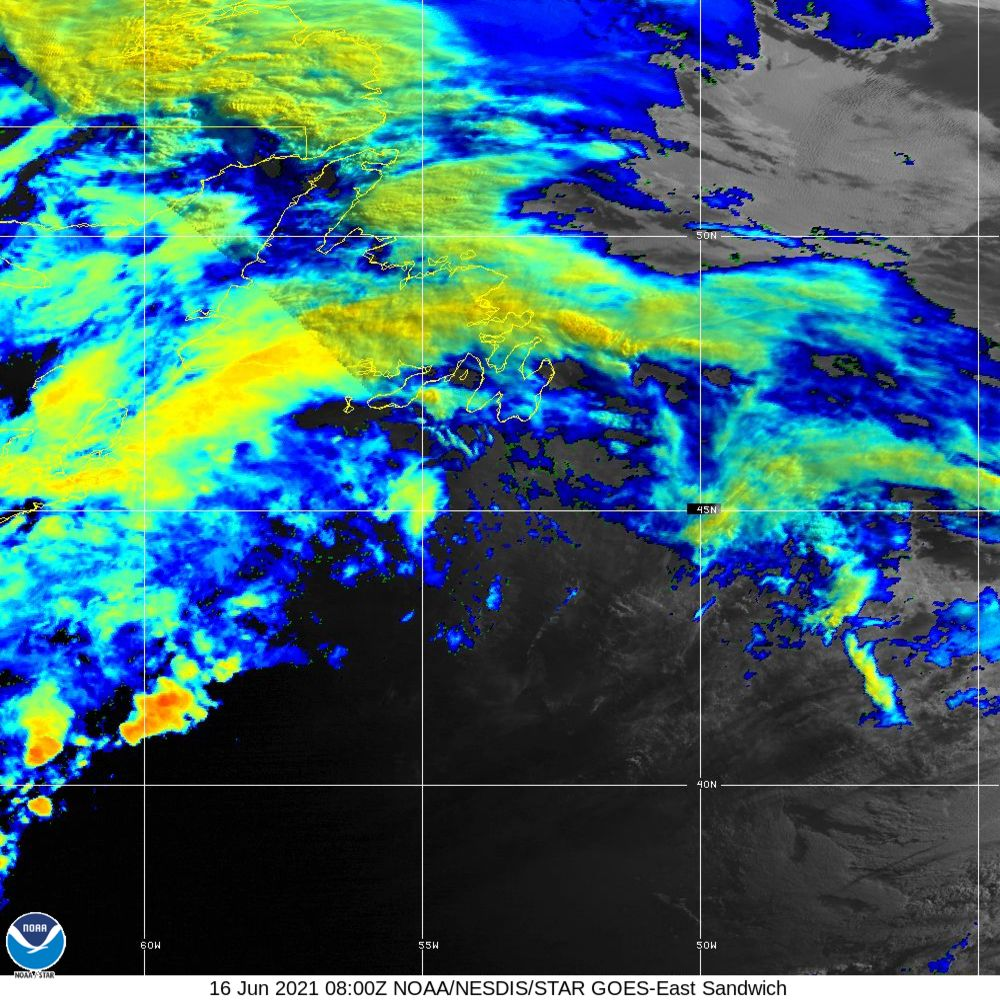 Sandwich - Multi-spectral blend combines IR band 13 with visual band 3 - 16 Jun 2021 - 0800 UTC
