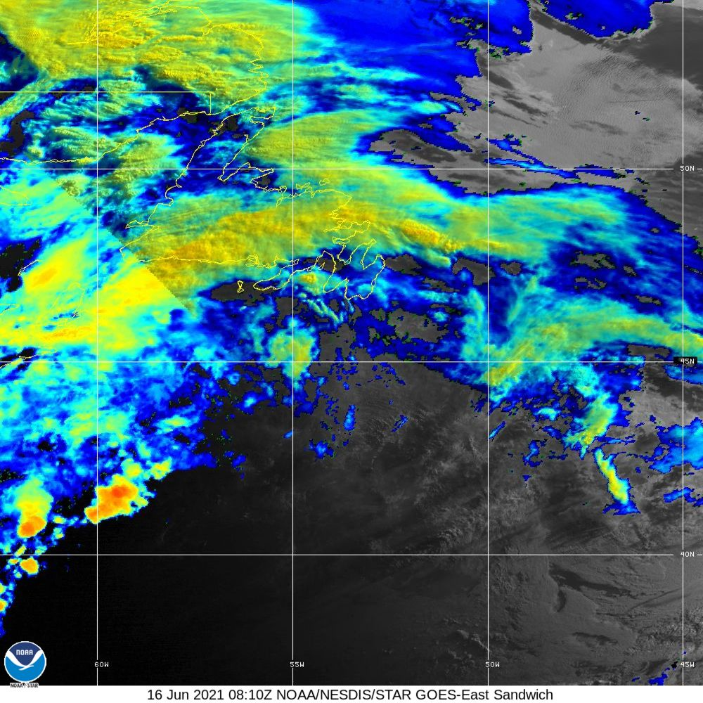 Sandwich - Multi-spectral blend combines IR band 13 with visual band 3 - 16 Jun 2021 - 0810 UTC