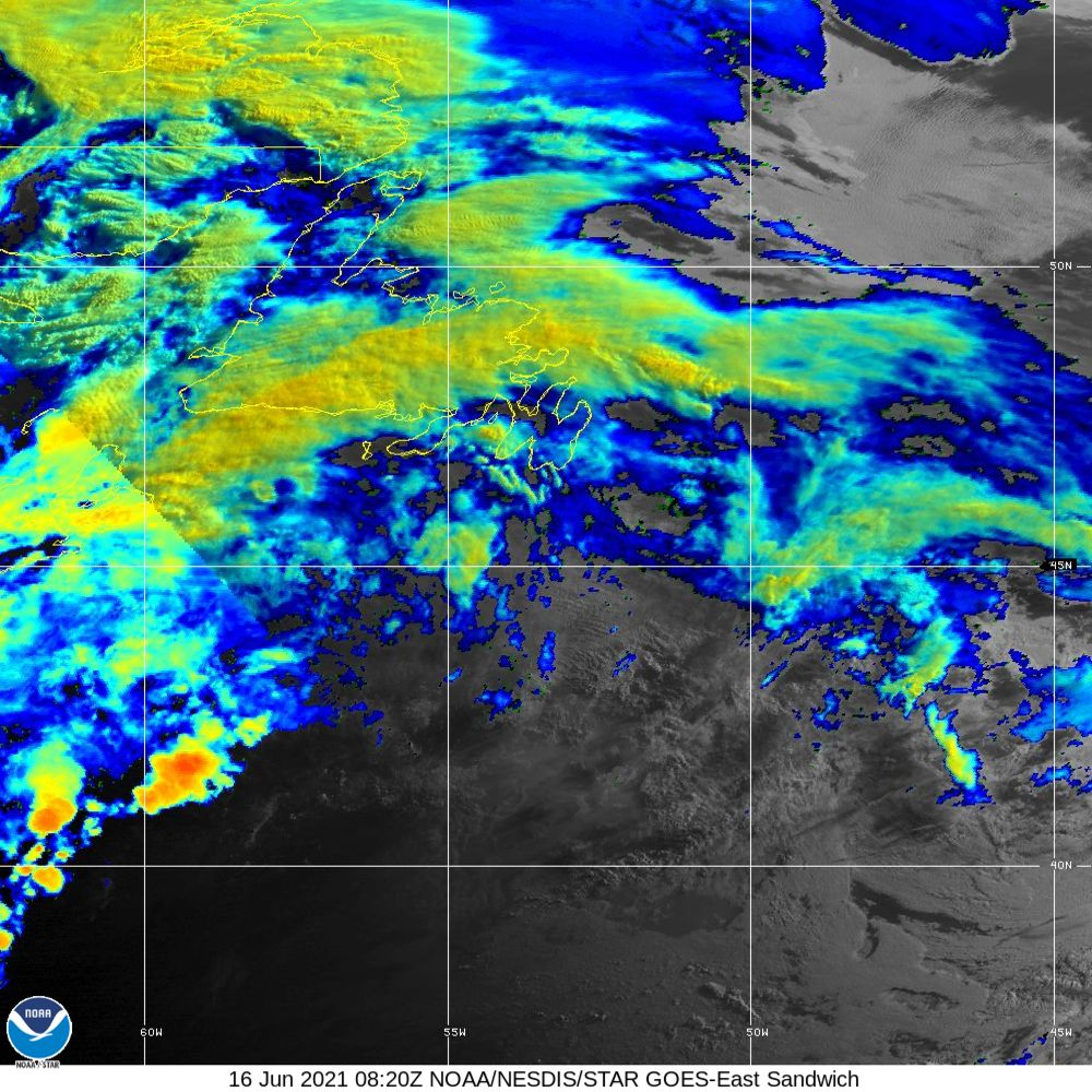 Sandwich - Multi-spectral blend combines IR band 13 with visual band 3 - 16 Jun 2021 - 0820 UTC