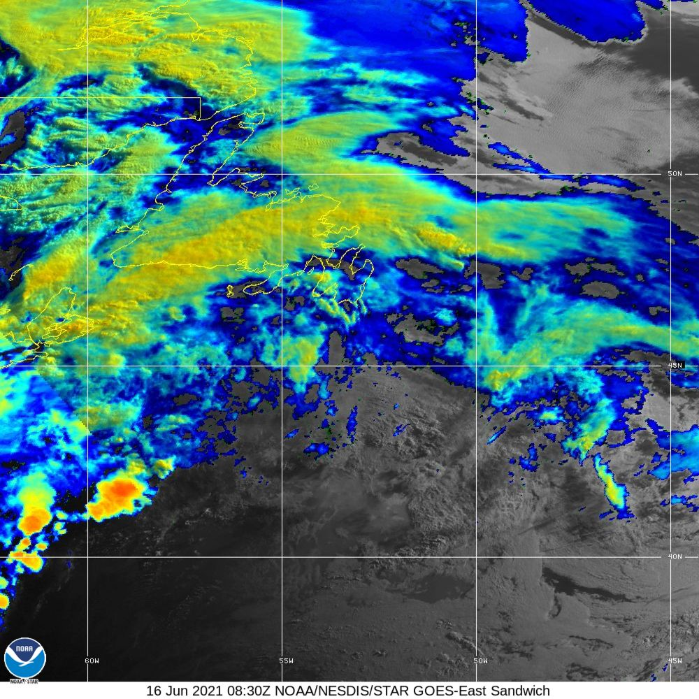 Sandwich - Multi-spectral blend combines IR band 13 with visual band 3 - 16 Jun 2021 - 0830 UTC