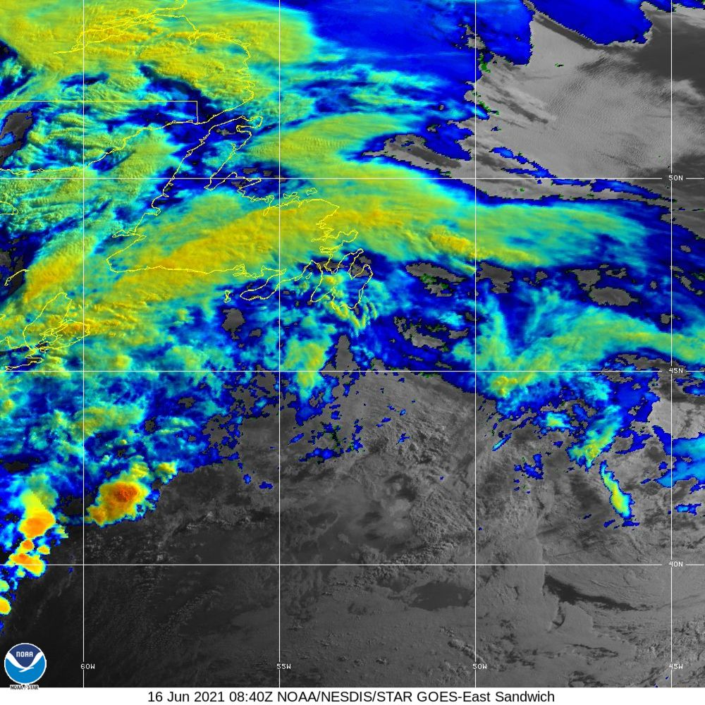 Sandwich - Multi-spectral blend combines IR band 13 with visual band 3 - 16 Jun 2021 - 0840 UTC