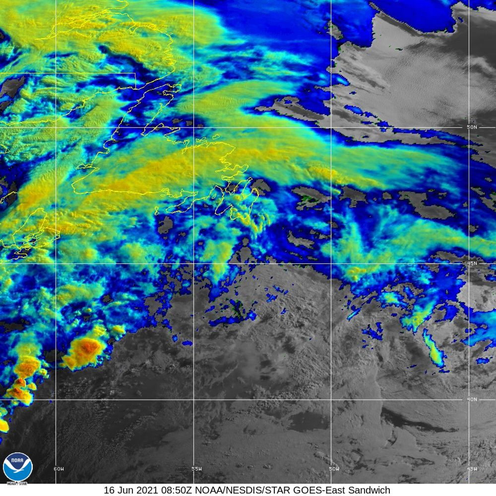 Sandwich - Multi-spectral blend combines IR band 13 with visual band 3 - 16 Jun 2021 - 0850 UTC