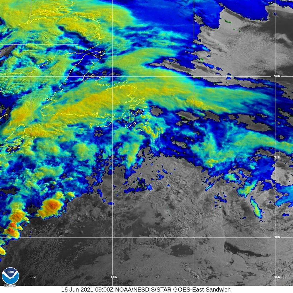 Sandwich - Multi-spectral blend combines IR band 13 with visual band 3 - 16 Jun 2021 - 0900 UTC