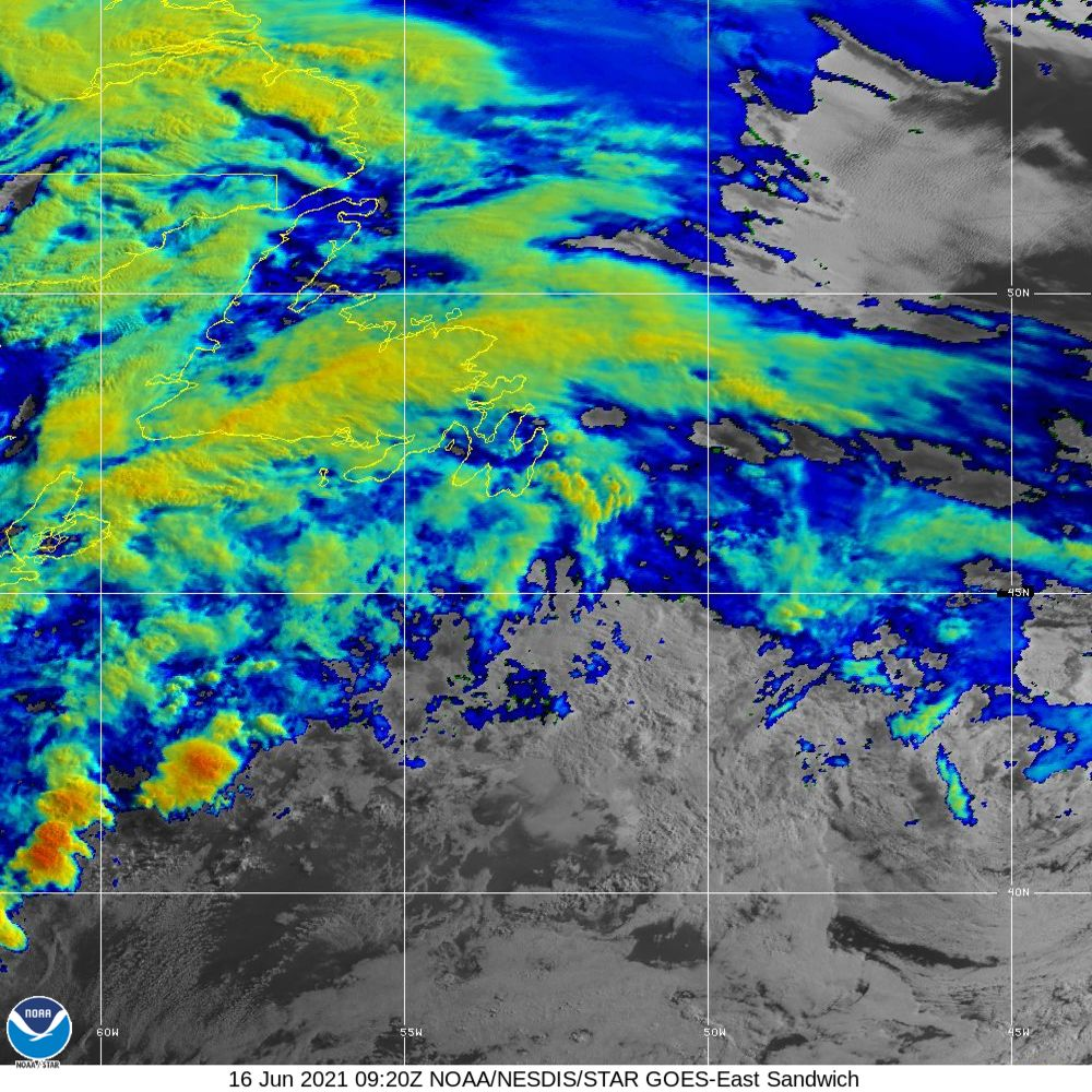 Sandwich - Multi-spectral blend combines IR band 13 with visual band 3 - 16 Jun 2021 - 0920 UTC
