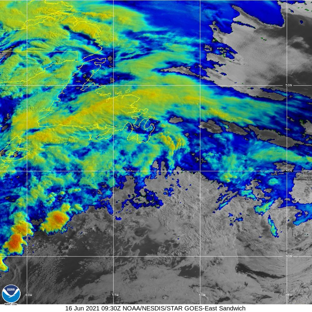 Sandwich - Multi-spectral blend combines IR band 13 with visual band 3 - 16 Jun 2021 - 0930 UTC