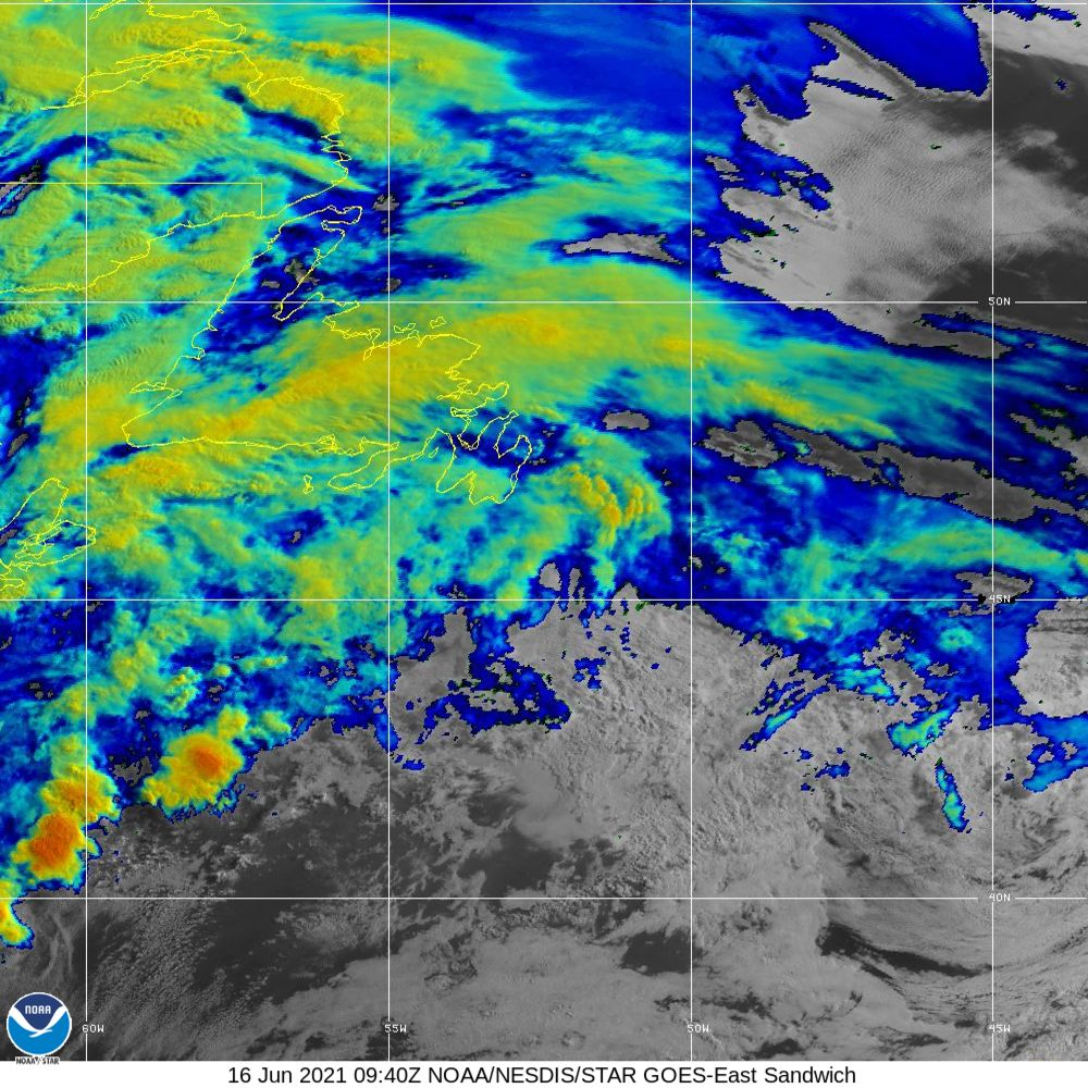 Sandwich - Multi-spectral blend combines IR band 13 with visual band 3 - 16 Jun 2021 - 0940 UTC