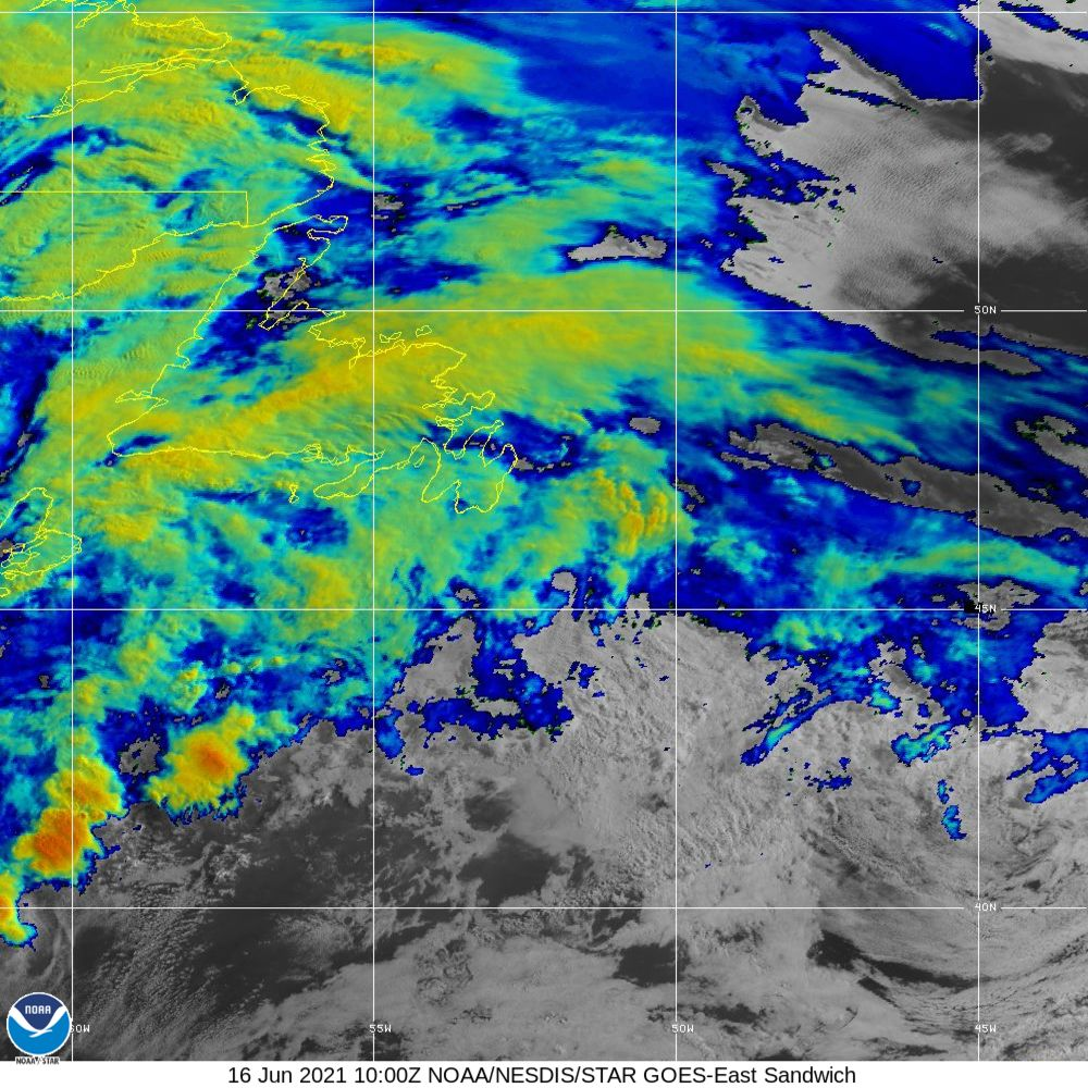 Sandwich - Multi-spectral blend combines IR band 13 with visual band 3 - 16 Jun 2021 - 1000 UTC