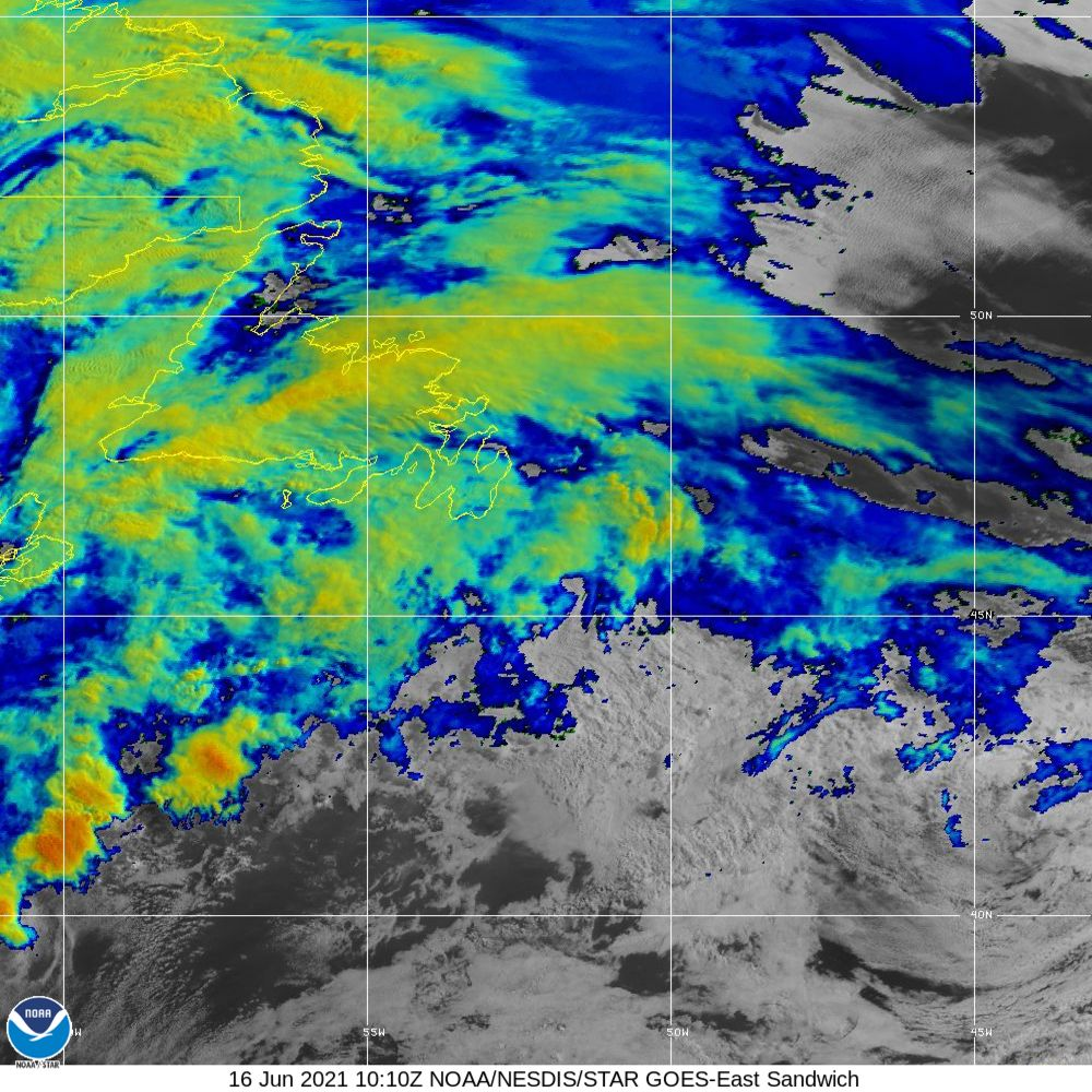 Sandwich - Multi-spectral blend combines IR band 13 with visual band 3 - 16 Jun 2021 - 1010 UTC