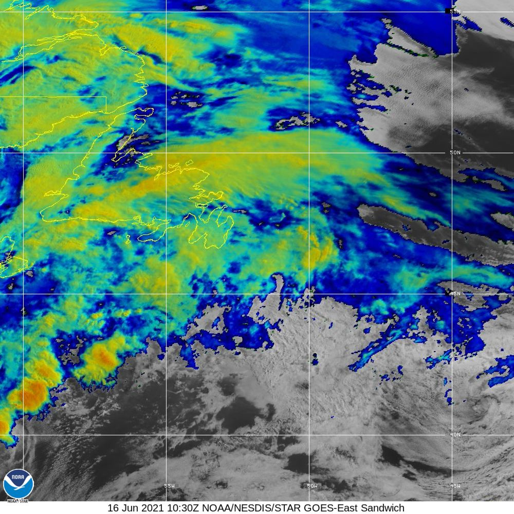 Sandwich - Multi-spectral blend combines IR band 13 with visual band 3 - 16 Jun 2021 - 1030 UTC
