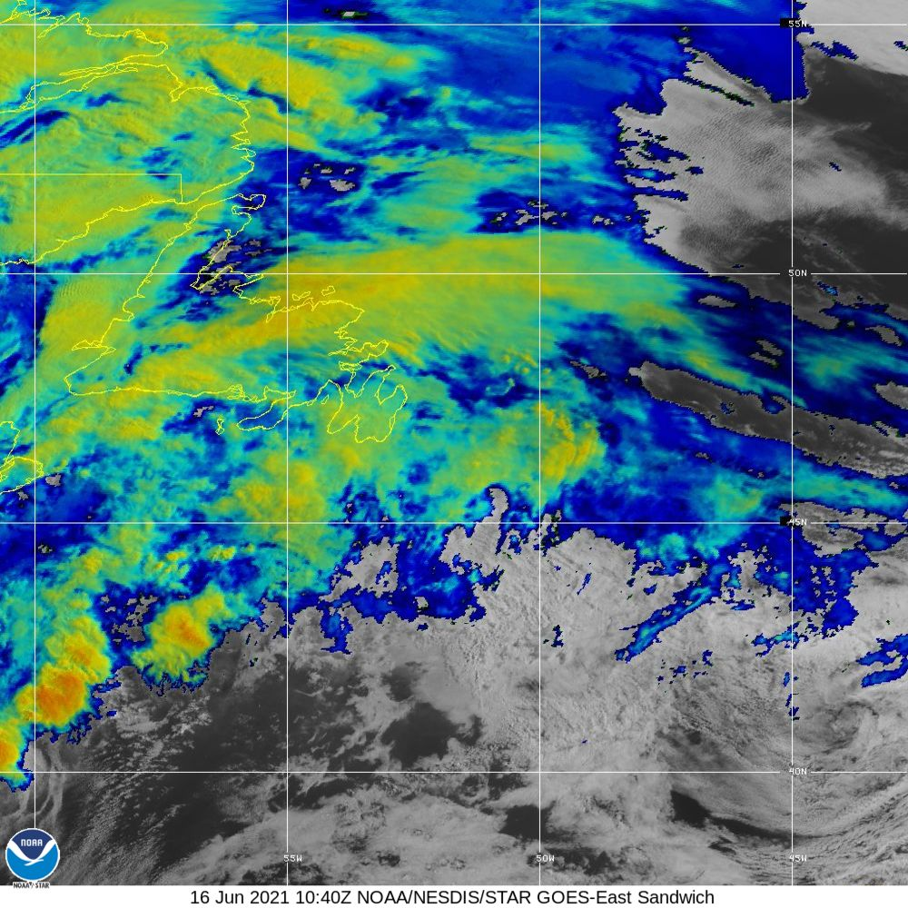 Sandwich - Multi-spectral blend combines IR band 13 with visual band 3 - 16 Jun 2021 - 1040 UTC