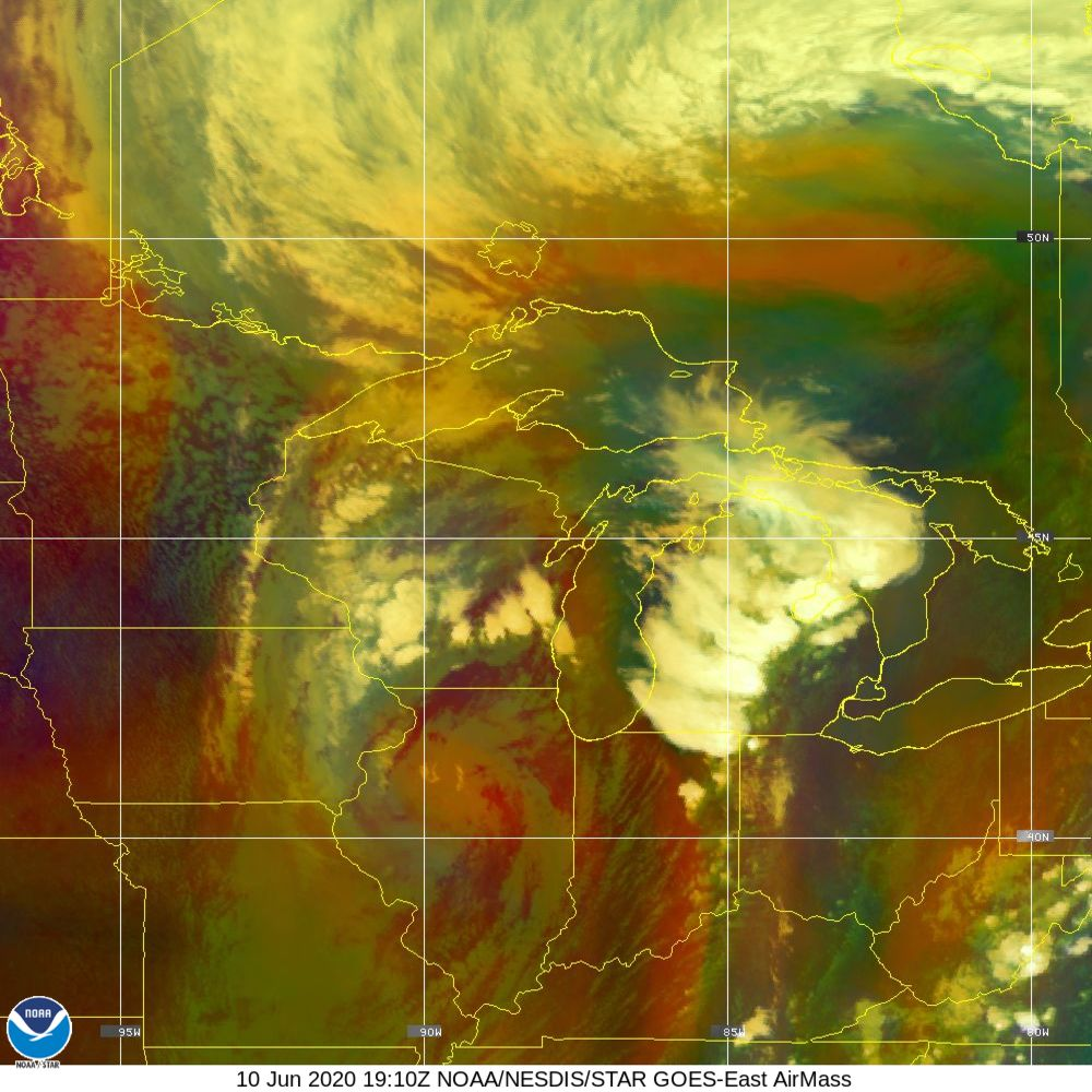 Air Mass - RGB composite based on the data from IR and WV - 10 Jun 2020 - 1910 UTC
