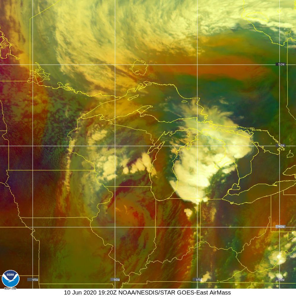 Air Mass - RGB composite based on the data from IR and WV - 10 Jun 2020 - 1920 UTC