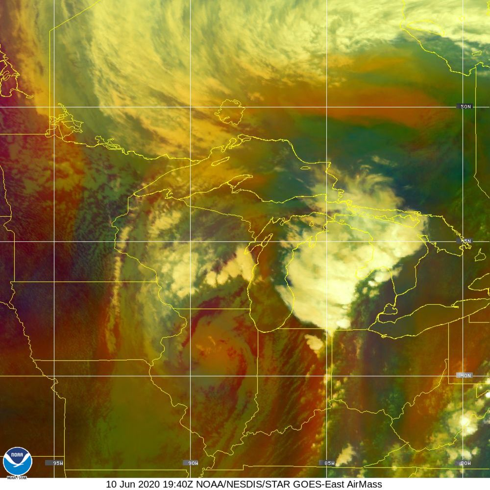 Air Mass - RGB composite based on the data from IR and WV - 10 Jun 2020 - 1940 UTC