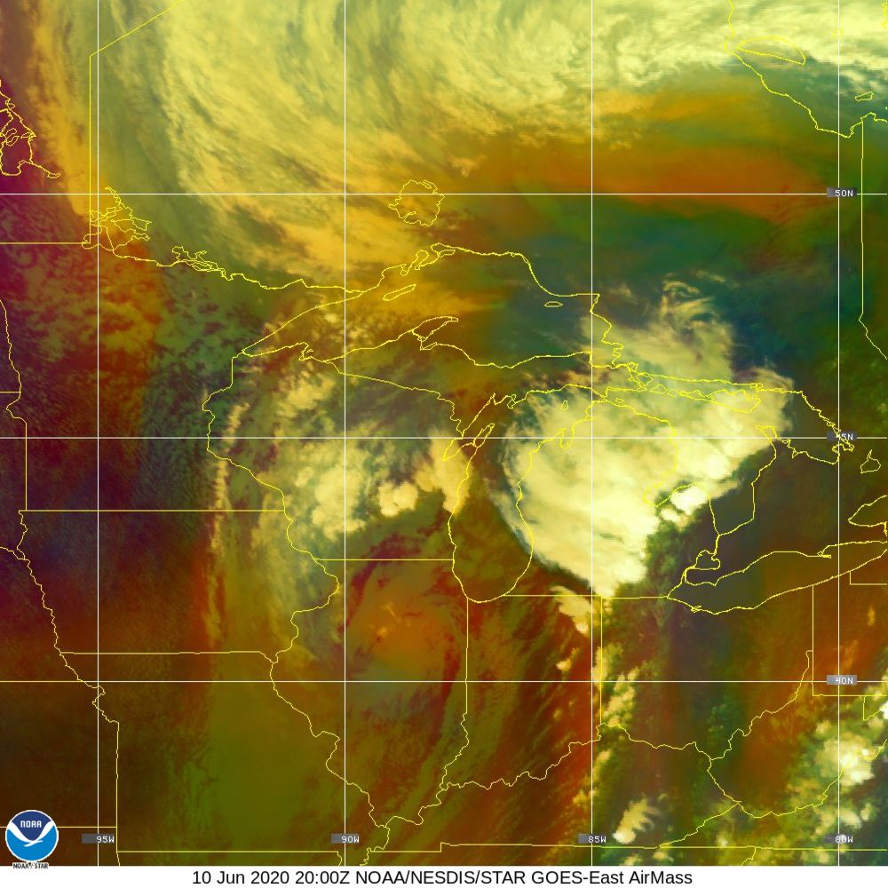 Air Mass - RGB composite based on the data from IR and WV - 10 Jun 2020 - 2000 UTC
