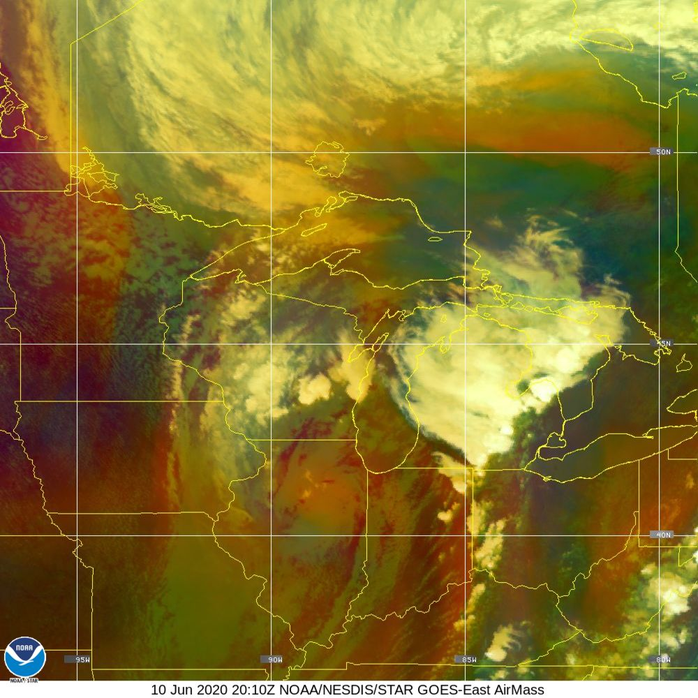 Air Mass - RGB composite based on the data from IR and WV - 10 Jun 2020 - 2010 UTC