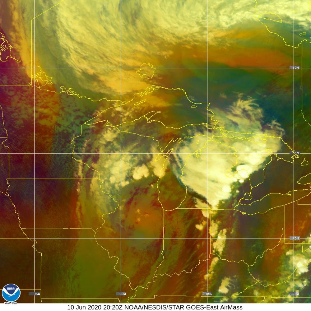Air Mass - RGB composite based on the data from IR and WV - 10 Jun 2020 - 2020 UTC